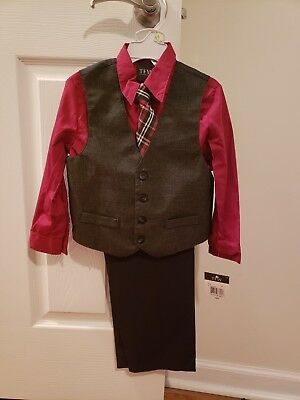 TFW NWT Boys 4 Piece Suit Burgundy Size 4T