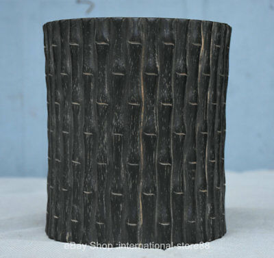 "6.2"" Old Chinese Ebony Carving Dynasty Bamboo Striation Brush Pot Pencil Vase"