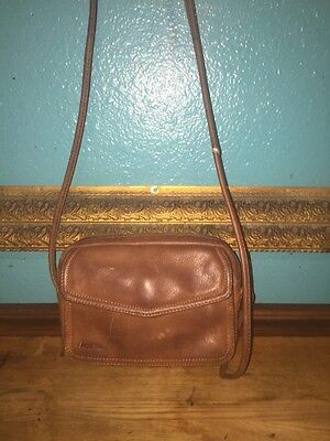 ~Vintage~FOSSIL~Genuine Brown Pebbled Leather Small Handbag Organizer Purse~