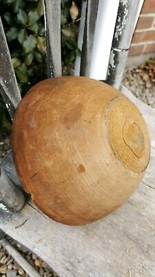 Early Primitive Wooden Treen Small Bowl with Old Repair in Bottom Worn Patina