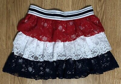8d96af947 Girls Size 7/8 Mini Skirt Red White Blue Lace Ruffle Patriotic USA 4th Of