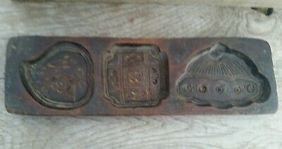 Antique Primitive Wooden Maple Sugar Mold Butter Cookies Candy Carved Pattern