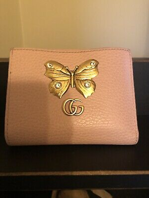 db33c3dc698188 GUCCI PINK LEATHER Butterfly Wallet and Card Case - $300.00 | PicClick