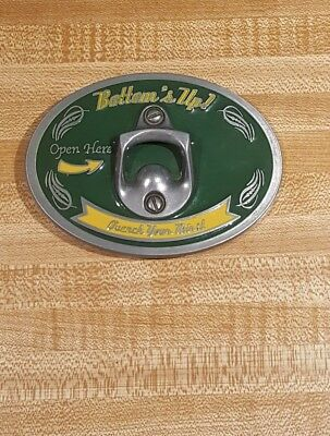 Bottoms Up! Belt Buckle Bottle Opener Open Here Quench Your Thirst