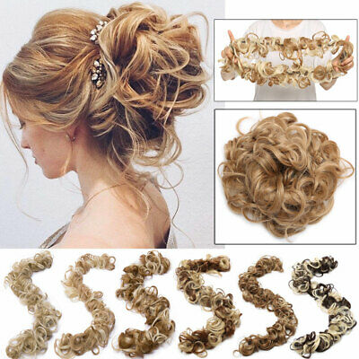 Scrunchie Updo Wrap Curly Messy Bun Hair Piece Hair Extensions Real as human USA