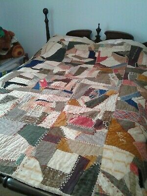 Antique Crazy Quilt Dated and Made By SAS in 1899