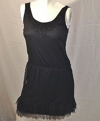 Dress Black Small Tiered Ruffled Hem Silky Embroidered Scoop Neck Stretch Lined