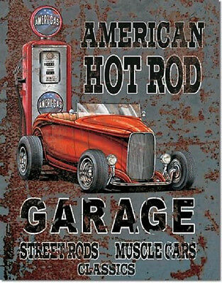 American Hot Rods Rat Rod Garage Muscle Car Vintage Retro Wall Decor Sign