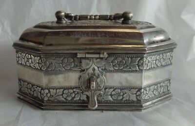 Solid Silver India Betel Pandan Spice Box Hindi Script