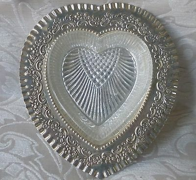 Stunning Victorian Silverplate Heart Shaped Butter Dish with Glass England c1880