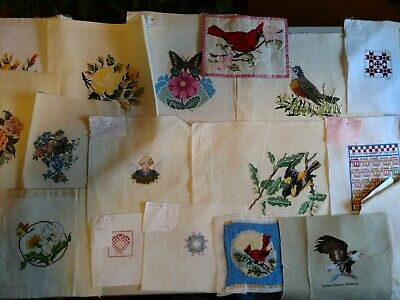 lot 35 finished needlepoint patterns Angels Birds Quilt pieces vintage Very Nice