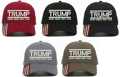 Trump Hat - Making America Great Again USA 300 w/ USA Flag Brim Adjustable Hat