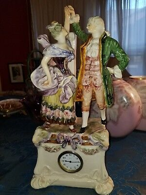 ANTIQUE 19TH C. ITALIAN FIGURAL PORCELAIN MANTEL CLOCK~Vase