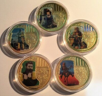 """Set of 5 NED KELLY """"Helmet Art"""" 1 Oz Coins, Finished in 24k 999 Gold, Outlaw."""