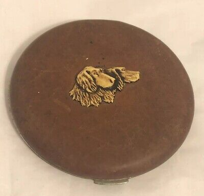 VTG Leather W/ Dog Faces Vanity Face Puff Powder Box Compact Case Mirror