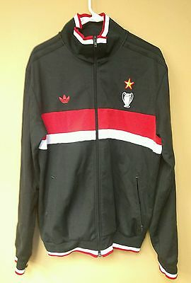 d397219558f9 Authentic Adidas AC Milan Mediolanum Soccer Track Jacket XL Black Red White