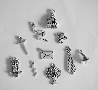 Harry Potter Theme Mixed Charms, Set of 10, Tibetan Silver, Pack #1, Owl,Snake