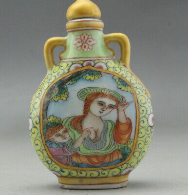 China Collectible Hand-Painted Body Art Jingdezhen Porcelain Snuff Bottle HC037