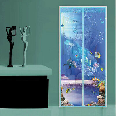 3D Blue Ocean Magic Curtain Door Mesh Magnetic Hands Free Fly Mosquito Screen