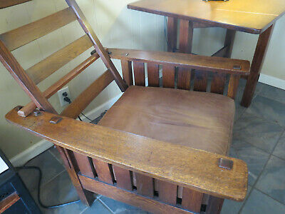 Antique L&JG Stickley Oak Morris Chair #471 Mission Arts & Crafts Era