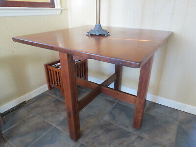 "Antique Stickley Brother Lamp/Card/Breakfast Table 36"" Square Arts & Crafts Era"