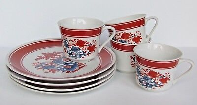 Seymour Mann Nara Porcelain Four (4) Snack Lunch Sets Cup And Plate