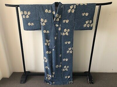Japanese Blue Silk Vintage Women's Kimono Robe One of a Kind Hand Made