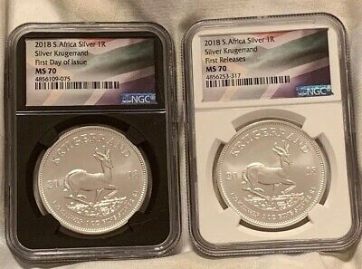 2-2018 South Africa 1oz Silver Krugerrand 2 COIN SET NGC MS 70 Black & White Hol