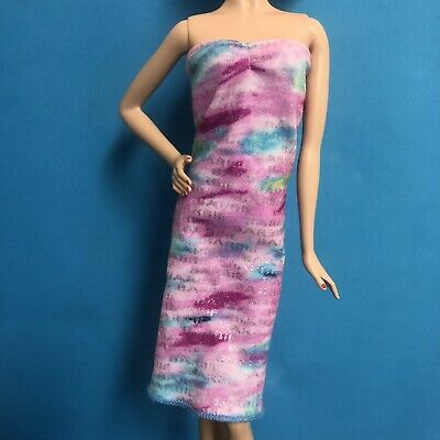 Barbie Doll Clothing Dress Purple Pink With Barbie All Over Mattel