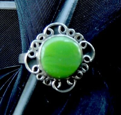 Beautiful Vintage Estate Sterling Silver Green Onyx Hand Made Ring Size 5.5