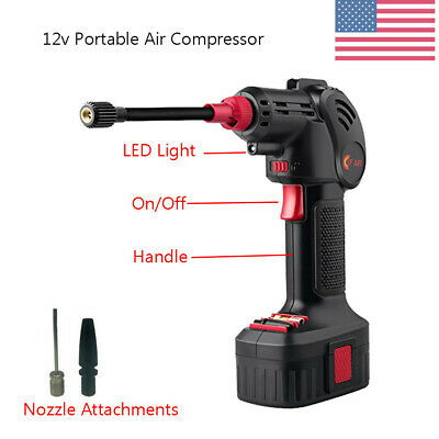 Portable 12v Hand Held Air Compressor Electric Cordless Pump&lithium Battery