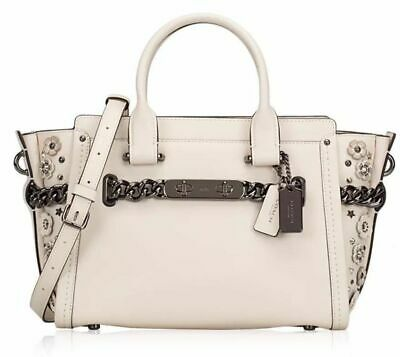 aed6611aebdcf COACH SWAGGER 27 Glovetanned Leather Willow Floral Bouquet Chalk Bag ...