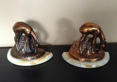 Vintage Pair of marble base & copper antelope Bookends REDUCED w/Free Shipping