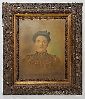 Large Charcoal Portrait of Victorian Era Wife Ornate Wooden Square Frame Antique