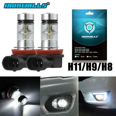 IRONWALLS 2x 100W H11 H8 H16 6000K White LED High Power Fog Light Driving Bulbs