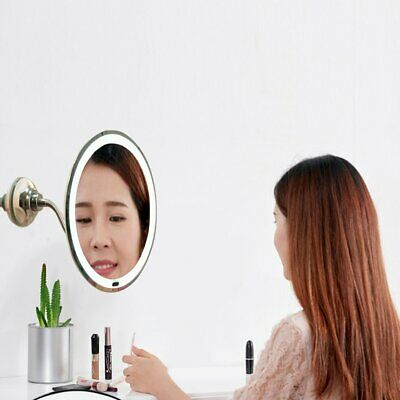 10X Magnifying Flexible Mirror LED Makeup Shaving Cup Wall 360° Rotating Mirror