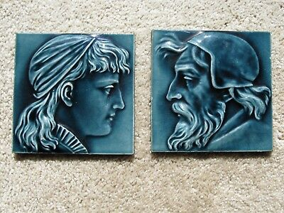 REDUCED! Antique English Victorian PAIR High Relief Majolica Maw Tiles FAB COND!