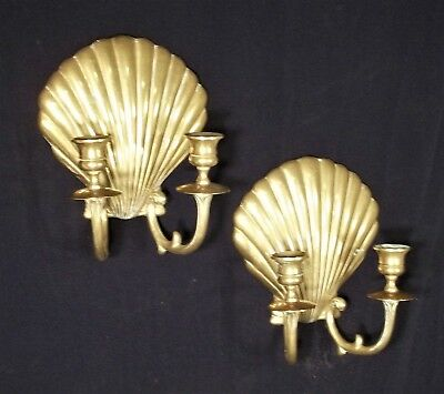 Pair Of Mid Century Classical Brass Seashell Double Arm Candle Sconces