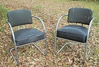 PAIR OF VINTAGE KEM WEBER 1930's ART DECO CHROMED STEEL CURVED ARM  ARMCHAIRS