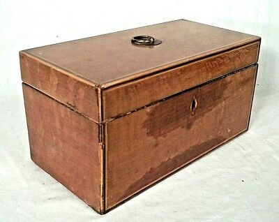 ANTIQUE 19th CENTURY INLAID MAHOGANY TEA CADDY