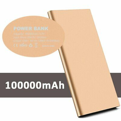 Ultra Thin Dual USB 100000mAh External Battery Power Bank Backup Charger Pack AU