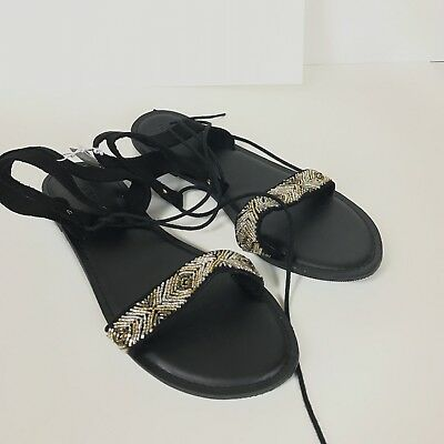 bc612a942420 NWT Old Navy Women s Black Beaded Strappy Gladiator Flat Sandals Size 10