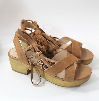 1e16530ee Sam Edelman Womens Jenna Sandals Platform Saddle Brown Tan Ankle Tie Size  6.5