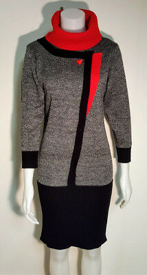 DRESSY TESSY Knitted Sweater Dress Vintage 80's Grey Black Red Roll Neck 8 -10
