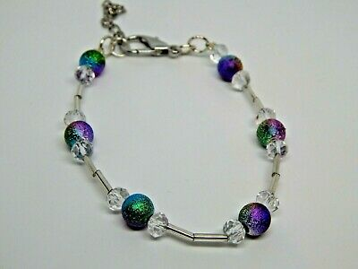 Useful Ankle Bracelet Anklet Stardust Beads And Faceted Glass Handmade Bargain!! Jewelry & Watches