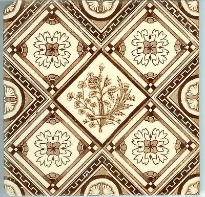 Deal Antique Victorian Diamond Pattern English Tile National Plants TG & F Booth