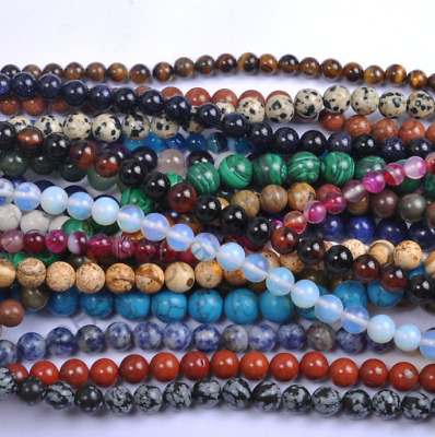 Wholesale 20pcs 8mm Natural Stone Gemstones Loose Beads Jewelry Bracelet Gift