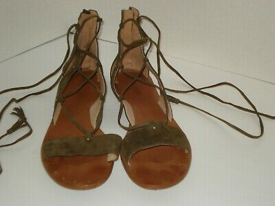 a49e0df5d294 MADEWELL THE BOARDWALK Black Leather Gladiator Lace Up Sandals Size ...