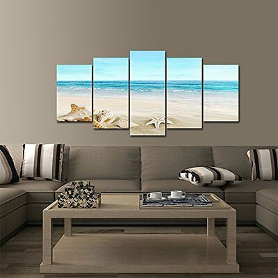 Canvas Wall Art Decor Beach Painting Ocean Paintings Sea Landscape Home Pictures