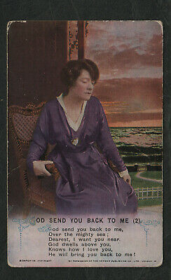 "s70)          WW1 ERA GREETINGS SONG CARD - ""GOD SEND YOU BACK TO ME"" (2)"